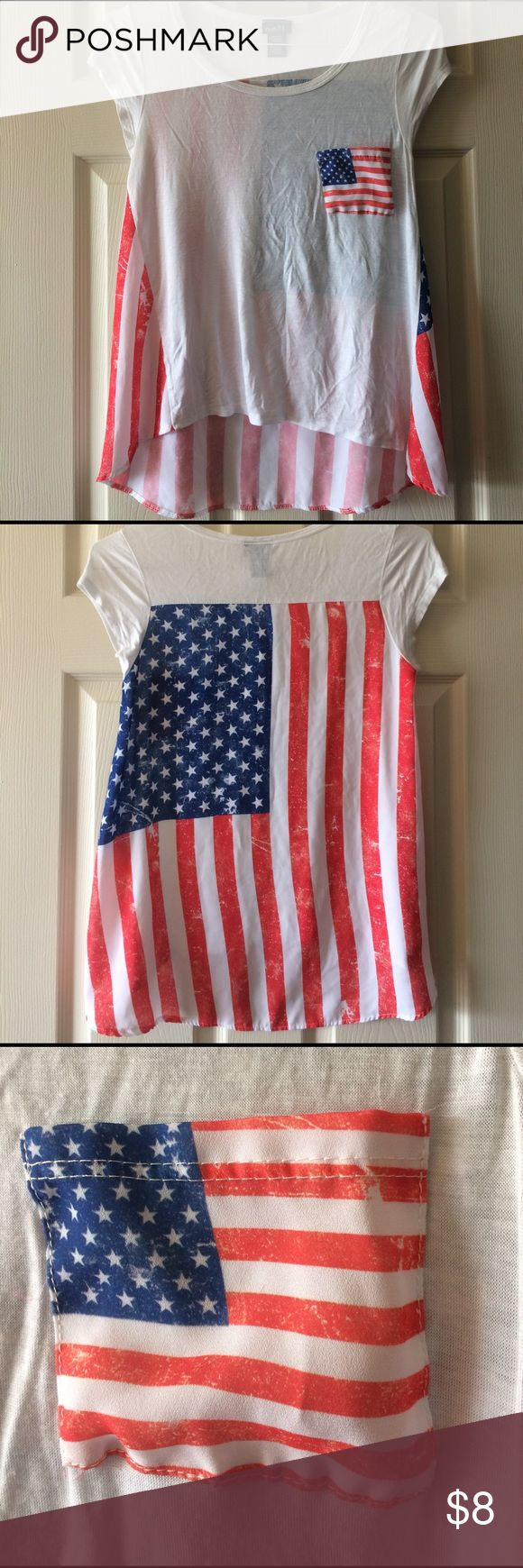 American flag women's shirt! Perfect for country concerts or 4th of July! Size small. Longer in the back as shown in picture. Worn ONCE. Rue 21 Tops Tees - Short Sleeve