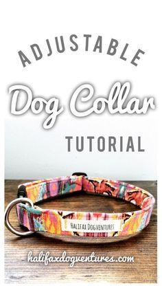 Learn how to make this super cute, super easy adjustable dog collar. DIY adjustable fabric dog collar tutorial: halifaxdogventures.com