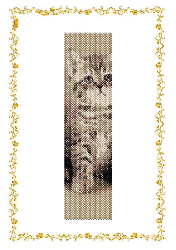 Beading pattern Bracelet Kitten. Even count peyote stitch. Beadwork Pattern for Delica 11  length: 7,3 inches (rows106) width: 2 inches (columns