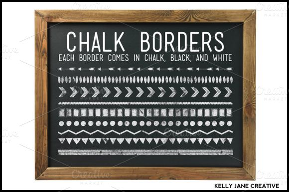 Chalkboard Borders & Background by kellyjsorenson on Creative Market