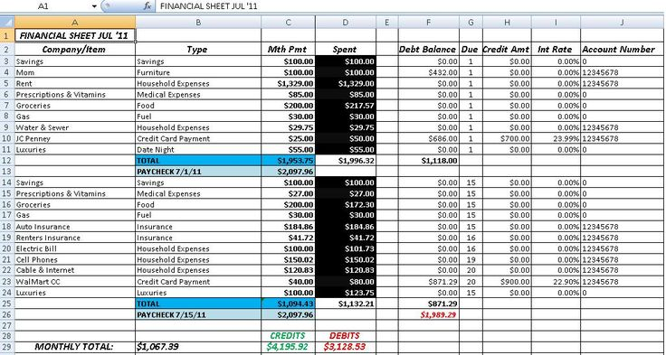 Accounting and Bookkeeping Excel Spreadsheet Template : Accounting ...