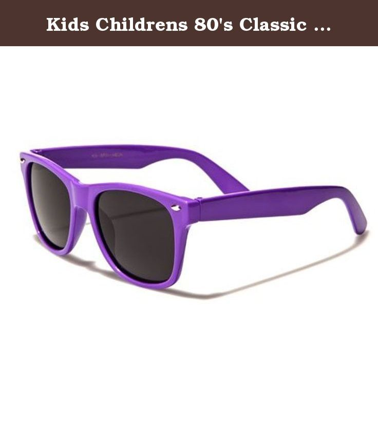 Kids Childrens 80's Classic Retro Wayfarer Sunglasses - (Purple). The frame is plastic and designed to hold up to rough and tumble use, but be comfortable to wear. The lenses are dark, offering great protection from the sun to small eyes. Spoil your kids and get them a great set of bright shades.