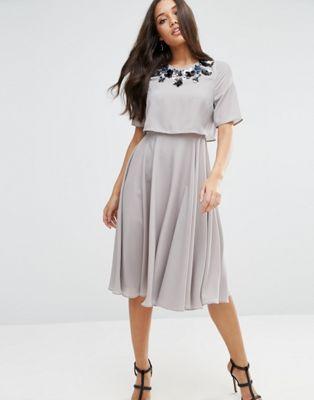 ASOS Embellished Crop Top Midi Skater Dress -- bridesmaid dress