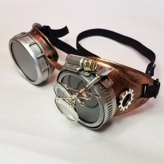 Copper and Silver Steampunk Goggles w/ Silver Gears and Magnifying Loupes. Only at www.HGBrasswell.com
