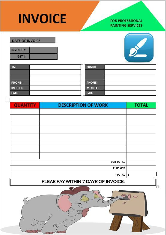 Paintings Invoice Template Painter Invoice Template Invoice