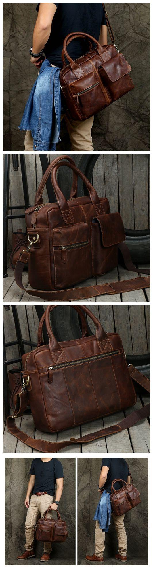 0a5b9d319ae7 Handmade Dark Brown Top Grain Leather Briefcase Men s Handbag Messenger Bag  15   Laptop Bag NZ03 - Dark Brown