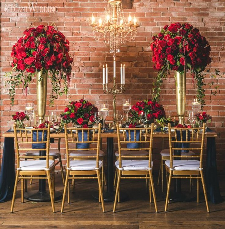 Plenty of red roses and opulent gold decor to go around at this fairytale tablescape! 🌹✨ See how #BeautyAndTheBeast played a part in this Vancouver style shoot on ElegantWedding.ca today! Planning & Design: @umbrellaeventsvancouver   Photo: @sowedding   Flowers, Decor, Linens & Rentals: @divine_decor   Venue: @chambar_restaurant