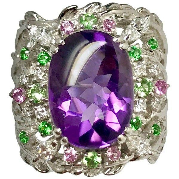 Matsuzaki Oval Amethyst Green Garnet Pink Sapphire Diamond 18 Karat Wg... ($8,640) ❤ liked on Polyvore featuring jewelry, rings, fashion rings, purple, 18k ring, amethyst diamond ring, enhancer ring, purple amethyst ring and oval stone ring