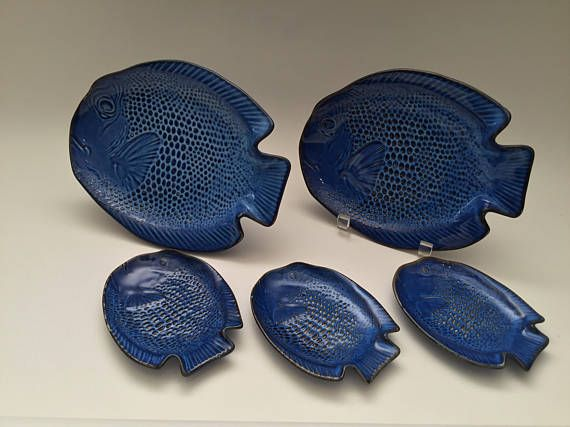 Blue Fish Plate set 3 small Dish Dishes 2 large Plates