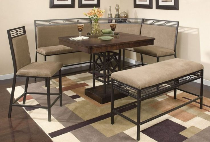 Square Shape Brown Wood Top Black Corner Breakfast Nook Table Set With L Shape Grey Cushion Bench On Mosaic Rug Area In Cream Paint Wall  In Fascinating Dining Room