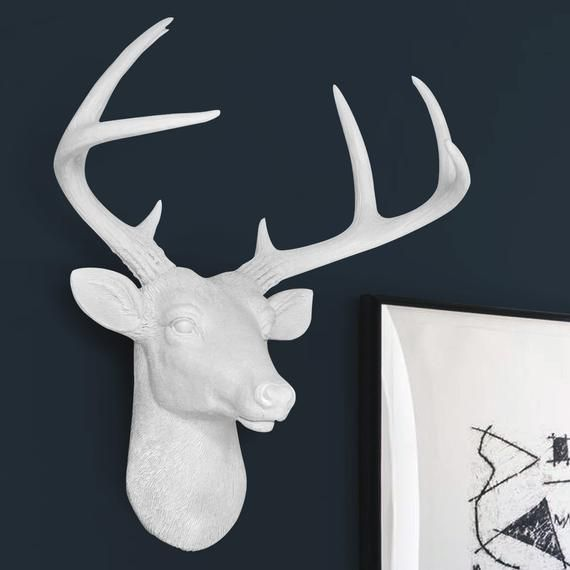 Large Faux Deer Head Free Shipping Wall Charmers Faux Taxidermy Resin Animal Head Ceramic Stag Taxidermy Buck Antler Mount Fauxidermy In 2020 Deer Head Wall Decor Faux Taxidermy Faux Deer Head