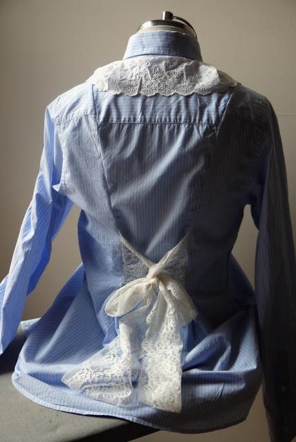 Au Cerisier du Mesnil: recycler des chemises d'homme en chemise de grossesse.