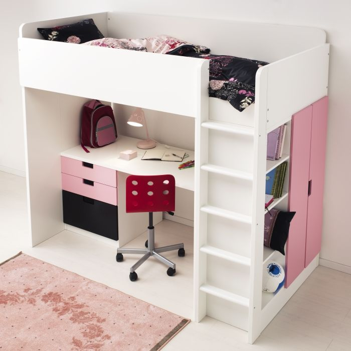 With the STUVA loft bed, you get a complete solution for your child's room – including a desk, wardrobe and open shelving unit. The doors and drawers come in different color options and you can configure the unit in a couple of ways to suit your space.