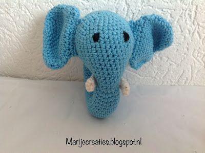 Marijecreaties, #haken, gratis patroon, Nederlands, baby, rammelaar, olifant, kraamcadeau, #haakpatroon, meer gratis patronen op site
