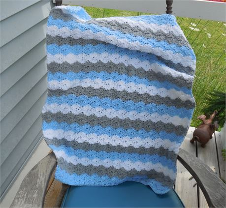 Crochet Baby Boy Blanket  Blue White and Gray striped baby boy afghan  Handmade with alternating stripes of blue white and gray perfect for the new little boy in the family or also could be used as a security blanket for a toddler or preschooler.  A wonderful handmade blanket for your baby!  Made of high quality 100% acrylic yarn.  Blue white and gray scallop stripes.  Perfect for covering a baby in a crib, stroller of car seat and a wonderful baby shower gift!  Great as a photo prop…