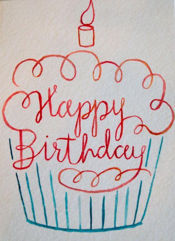 Alles- Gute zum Geburtstagaquarell-Kuchen-Karte vo…
