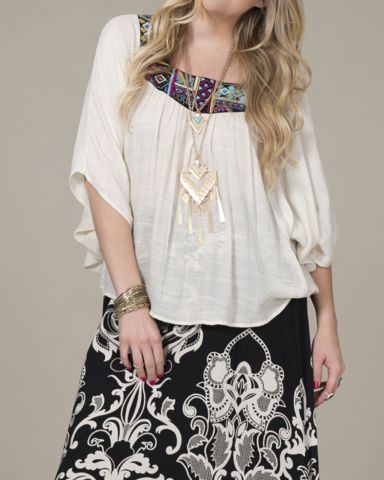 Plus Size Embroidered Top - ivory – Bohemian Tapestry