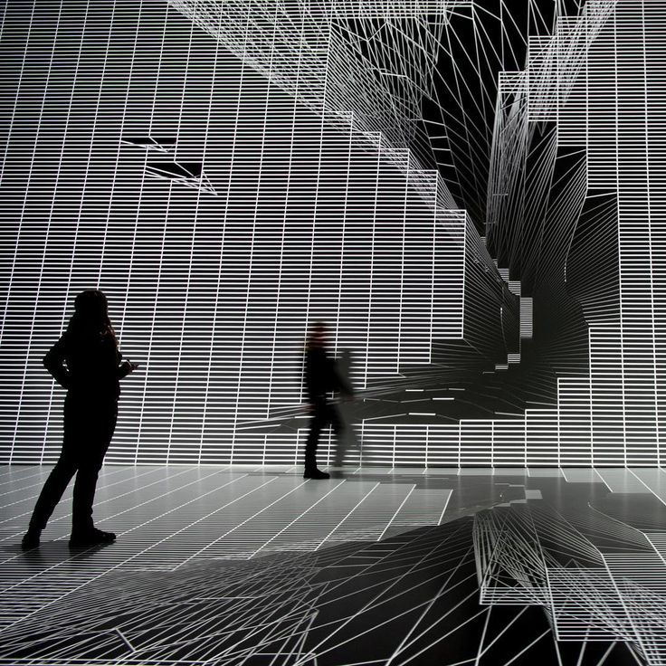 Instagram #arselectronica: Music-visualisation at the Ars Electronica Center's Deep Space 8K by Candaş Şişman (TR) and NOHlab/Plato Media Lab (TR). #deepspace8k #deepspace #visualization #music #moving #movement #wall #lines #3d #blackandwhite #blackwhite #monochrome #silhouette #arselectronica #arselectronicacenter #linz #visitlinz #upperaustria
