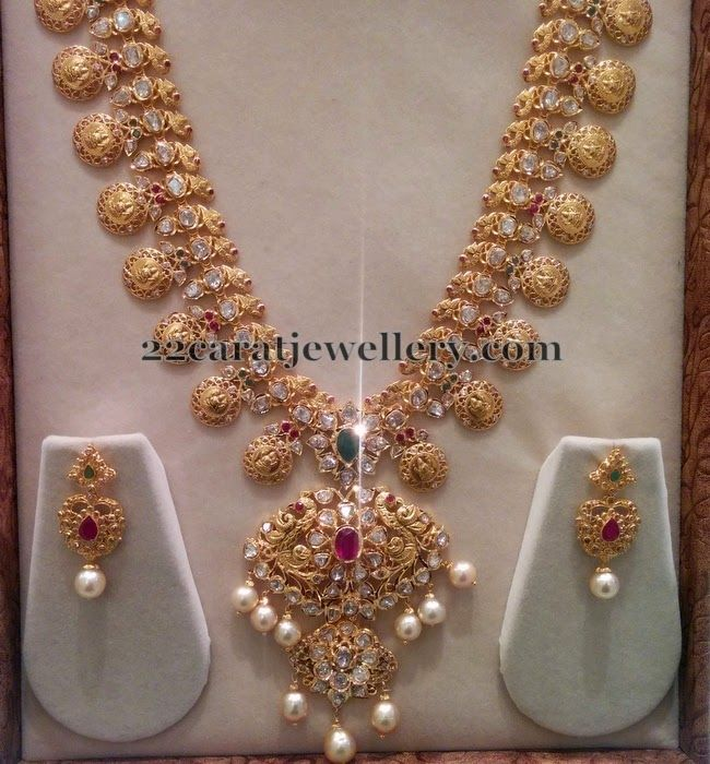 Jewellery Designs: Pachi Bridal Haram with Hangings