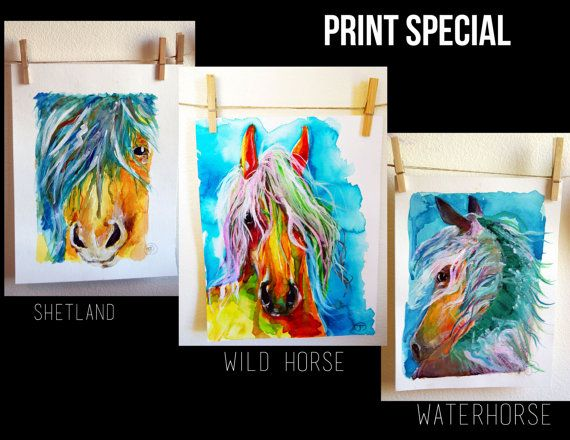 Horse Print Special Horse Trio Set by JessicaMingoDesigns on Etsy, $18.00