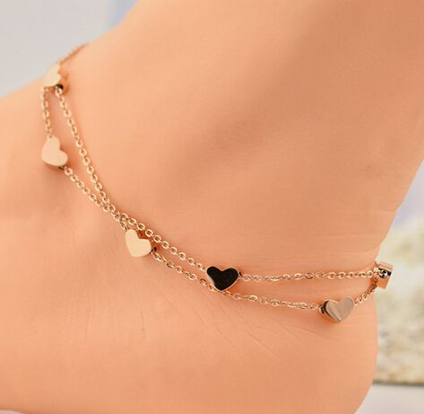 【Jewelry in My Box】rose gold cute heart anklet