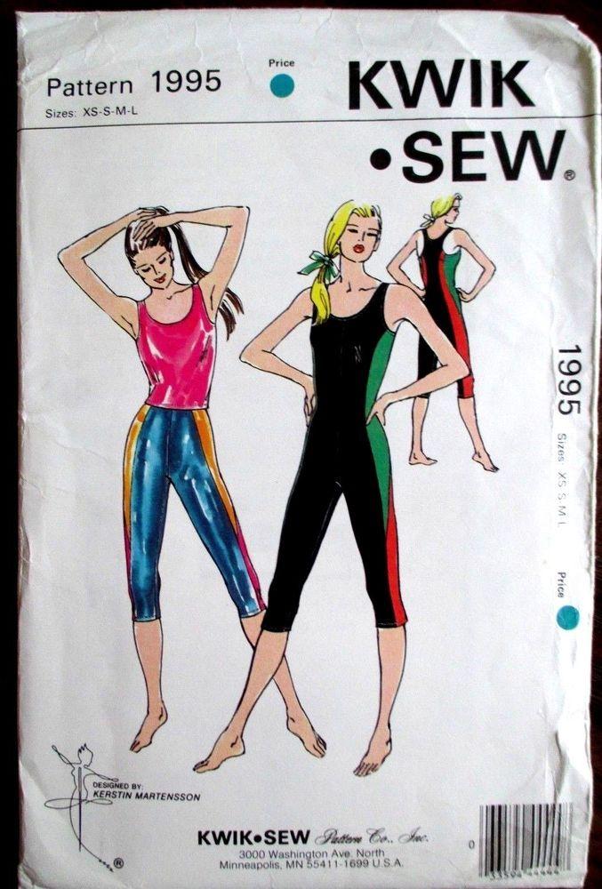 Kwik*Sew  Sewing Pattern no.1995  LADIES GYM WEAR Size XS-S-M-L UNCUT #KwikSew #Patterns