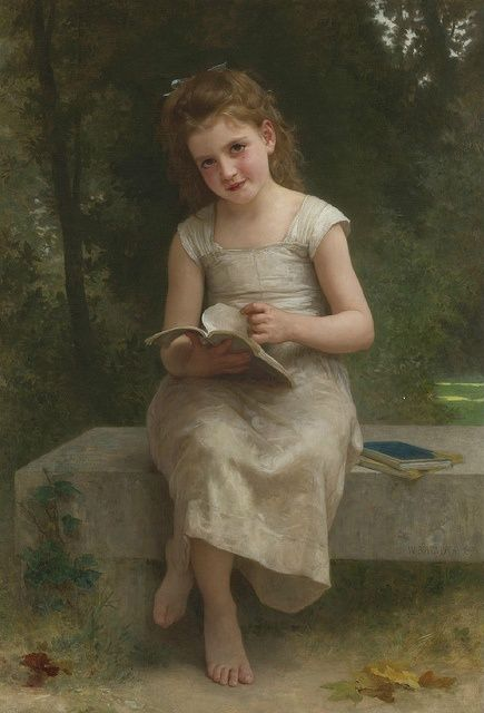 """A Leitura"" - Pintura a óleo de William Adolphe Bouguereau"