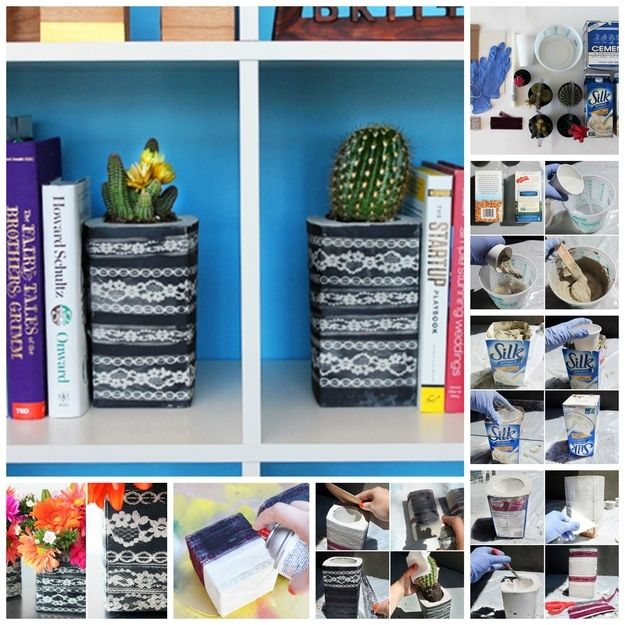 Lace-Wrapped Concrete Bookends | 22 Seriously Cool Cement Projects You Can Make At Home