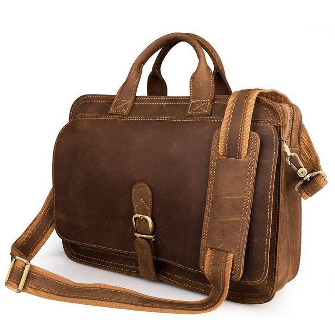 Handmade Vintage Leather Briefcase / Messenger Bag / Laptop Bag #n16-2