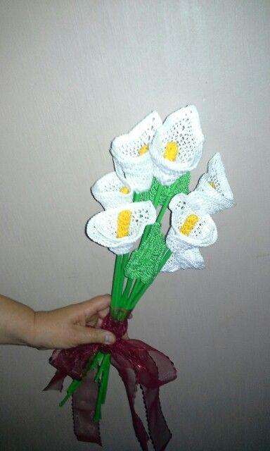 Ramo de calas a crochet  para una novia especial