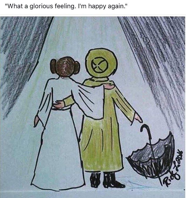 Todd Fisher shared this artist's sketch of his late mother and sister in their most famous roles - Princess Leia and Kathy Selden from Singin' In The Rain - on Thursday as he grieved their deaths