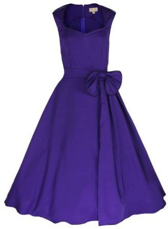 Amazon.com: Lindy Bop 'Grace' Classy Vintage 1950's Rockabilly Style Bow Swing Party Dress: Clothing