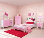 Hello Kitty® Bedroom In A Box+Chest-With the Hello Kitty Bedroom in a Box, you can have your very own slice of Hello Kitty heaven! The set comes with the bed with the upholstered silhouette of Hello Kitty, a dresser, nightstand, and a matching wall m