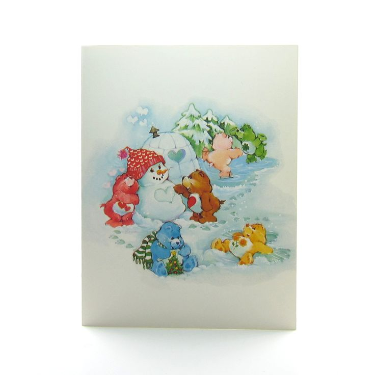 Care Bears Happy Holidays greeting card with snowman and igloo - Happy Holidays, Happy All-the-days!