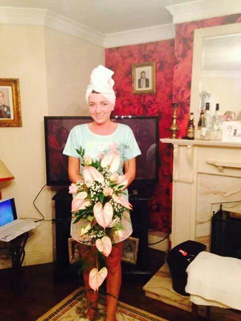 cascading wedding bouquet pink, white & green