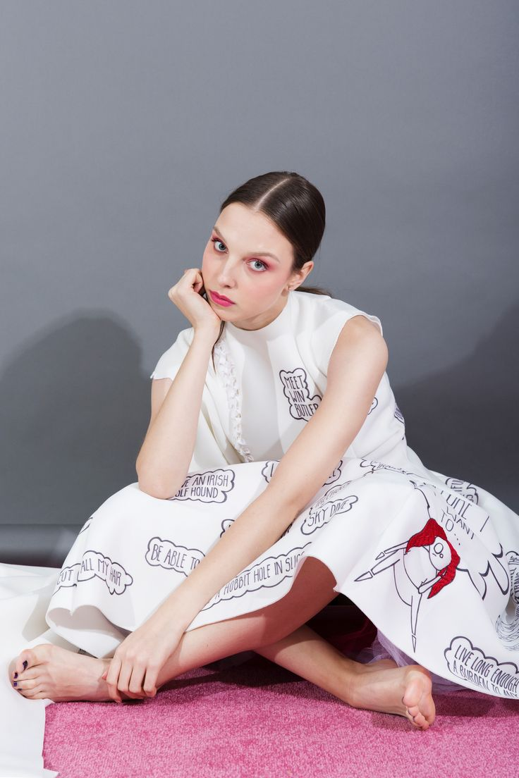 """""""Inner Thoughts, Outer Reflections"""" by Ailbhe Griffin. Look three: neoprene 'Before I Die' dress with embroidery, print and hoop details. #fashion #fashiondesign"""