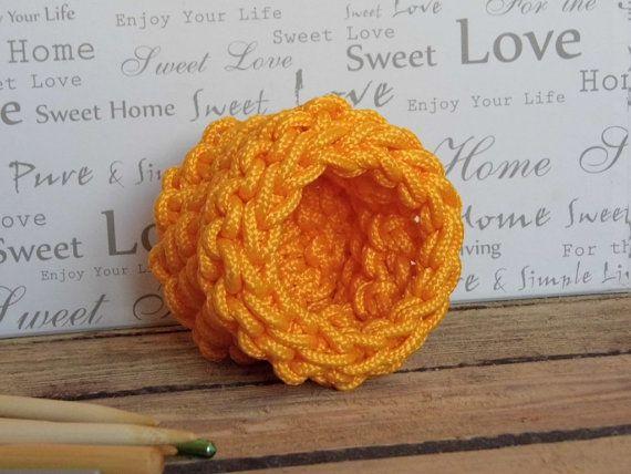 Hand Knit Yellow Polypropylene Rope  Basket Bowl Vase by ELITAI,