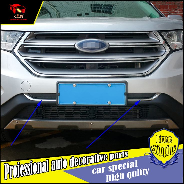 Car styling Car body cover Bumper engine ABS Chrome trims For Ford Edge 2015 2016 Front bottom Grid Grill Grille frame trim
