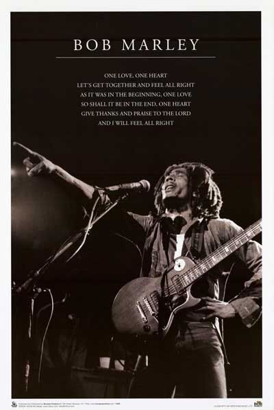 """Get together and feel alright with Reggae legend Bob Marley! This great poster features lyrics from """"One Love"""" so you can sing along! Fully licensed. Ships fast. 24x36 inches. Check out the rest of ou"""