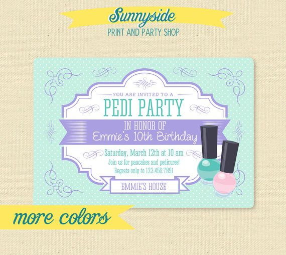 Our Pedi Party birthday invitation with pretty polka dot background and vintage fonts & swirls, is perfect for your little girls spa day