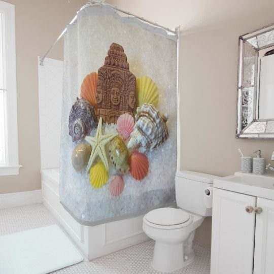 Mystic Energy Seashells and Starfish Shower Curtain  by www.zazzle.com/htgraphicdesigner* Seashells,conch shells and cowrie shells represent the element of earth in Feng Shui. They are considered very auspicious by many religions.According to Feng Shui: Seashells attract the positive energy,prosperity,good health,happiness and good luck into our lives! #zazzle #gift #giftidea #shower #curtain #bathroom #seashell #seashells #starfish #fengshui