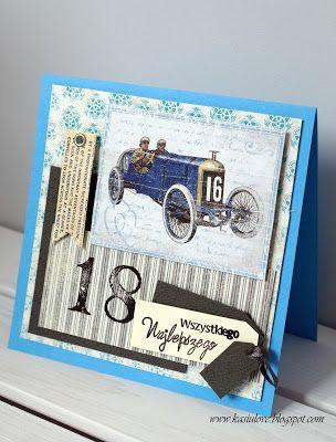 karta z życzeniami na 18 urodziny, kartka z autem vintage
