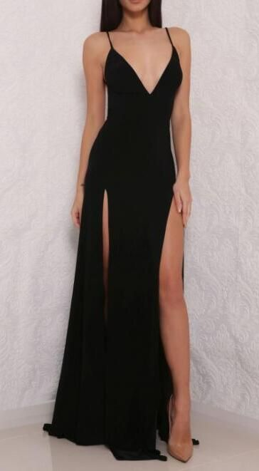 V neck Prom Dress,Open Back Prom Dress with Side Slit,Woman Formal Dresses,Long Party Dress,Simple Prom Dresses