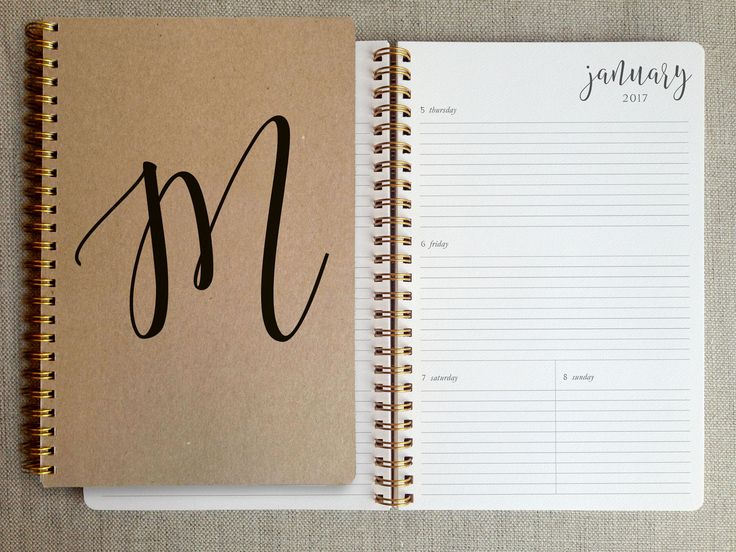 Personalized with a letter monogram, this simple, elegant 12-month planner is thoughtfully made with quality papers. Each book comes with 12 repositionable brass page markers. Perfectly sized to carry