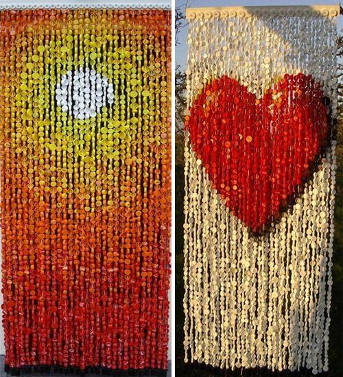 cortinas con tapones de plstico reciclados sol y corazn