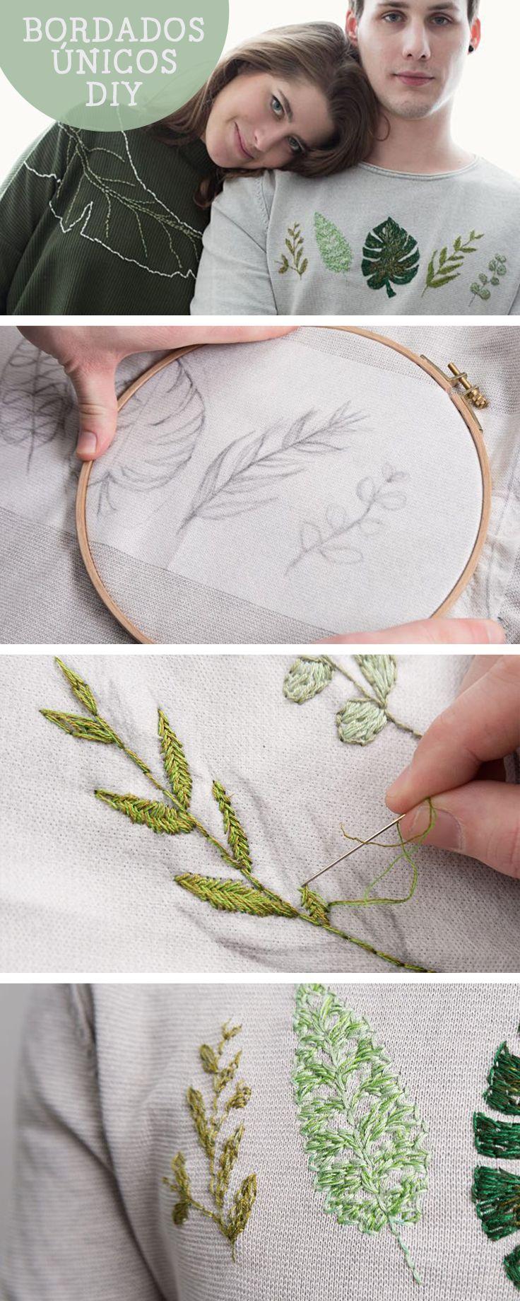Tutorial DIY: Cómo bordar hojas diferentes en un jersey - Bordado y costura en DaWanda.es