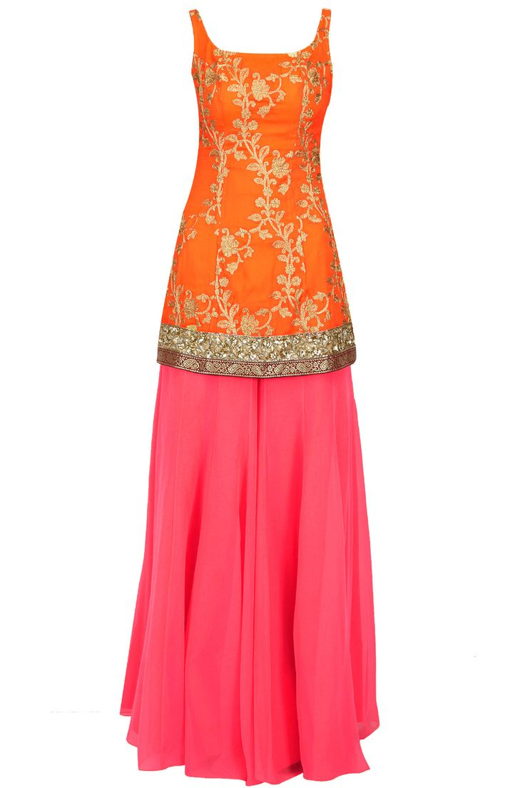love the top. Yellow embroidered kurta with coral sharara and dupatta available only at Pernia's Pop-Up Shop.