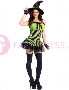 Dit kostuum bestaat uit een korte zwart met groen gestreepte jurk met tutu rok en schedel decoratie.    Ook zit er een zwarte hoed bij, een paar handschoenen en kousen.