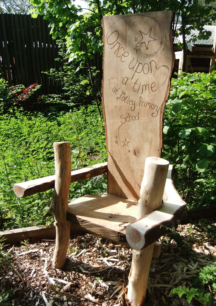 Story telling chair commissioned by a local School as a focal point in a garden area within the School. We can create unique story telling chairs, seating areas, play items and outdoor classrooms for your School or Nursery, please get in touch for more information.
