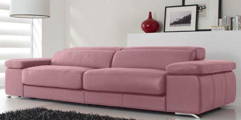 Sofa de piel modelo KeyWest en color Rosa Lilium